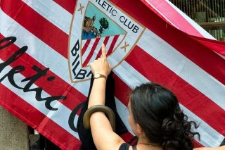 Bilbao flag woman